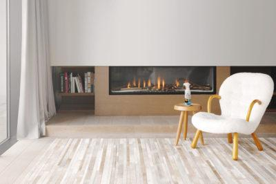 Room with a modern fireplace